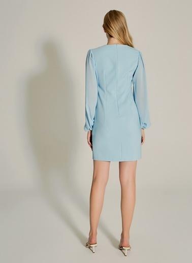 NGSTYLE Kolları Şifonlu Elbise Mavi